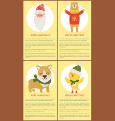 Merry christmas banners isanta bear dog vector