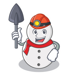 Miner snowman character cartoon style vector