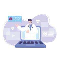 Online doctor doctor in video laptop medical vector