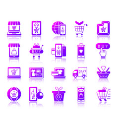 Online shop simple gradient icons set vector