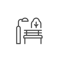 park bench line outline icon vector image