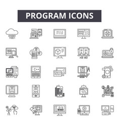 program line icons signs set outline vector image