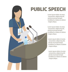public speech from grandstand with microphones vector image