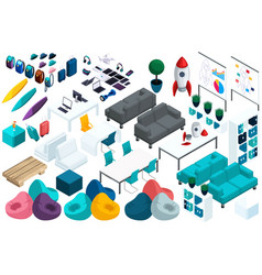 quality isometry set colorful furniture for work vector image
