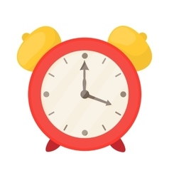 Red alarm clock icon cartoon style vector image