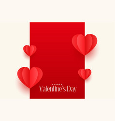 red origami hearts valentines day greeting design vector image