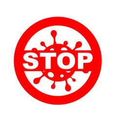 Red stoppage sign with white virus inside vector