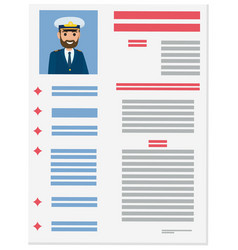 Resume with detailed info about marine captain vector