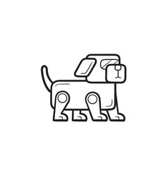 robotic dog hand drawn outline doodle icon vector image