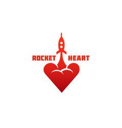 Rocket heart logo vector