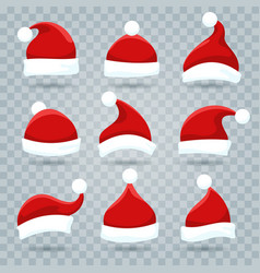 santa christmas hat set vector image
