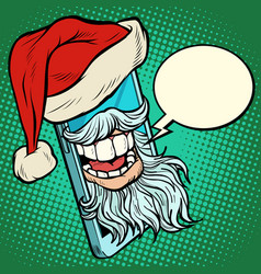 santa claus communicates via smartphone vector image
