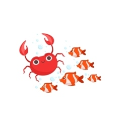 School Of Stripy Red Tropical Fish And A Red Crab vector