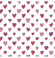 seamless hand drawn hearts pattern vector image