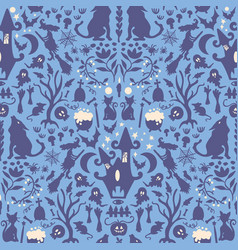 seamless pattern halloween spooky characters vector image