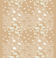 Seamless pattern with simple gabled houses and vector