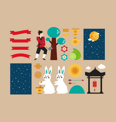 Set of elements dedicated to the chinese festival vector