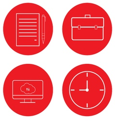 Set of office icons Diplomat paper computer clock vector image
