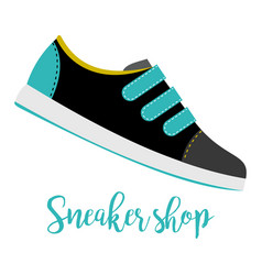 Shoes with text sneaker shop vector
