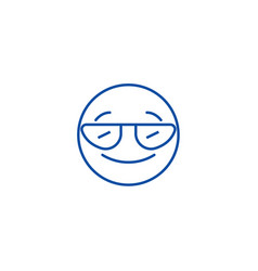 smiling emoji with sunglasses line icon concept vector image
