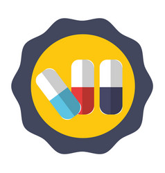 Sticker medical care pills treatment medicine vector