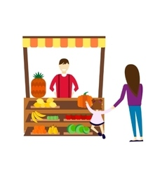 Street seller with stall fruits and vegetables vector image vector image