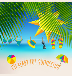 Summer themed background with palm leaves and vector