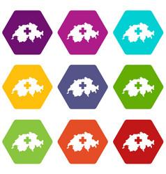 Switzerland map icon set color hexahedron vector