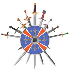 swords cross crosswise and shields vector image