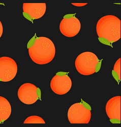 tropical seamless pattern with oranges and leaves vector image