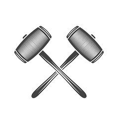 Two crossed sledge hammers Black on white flat vector