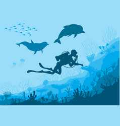 Underwater wildlife diver dolphins vector