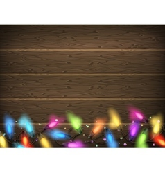 Vintage Christmas planked wood with lights EPS 10 vector