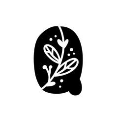 Vintage floral bold letter q logo spring classic vector