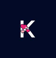 White pink color k initial letter with love vector