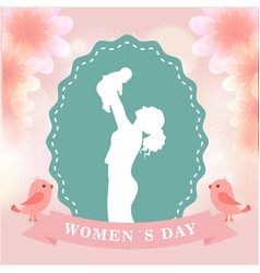 womens day mom hold son green frame pink backgroun vector image