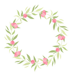 Wreath with grass and flowers vector