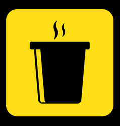 Yellow black sign - hot fastfood drink with smoke vector