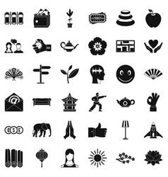 Yoga teacher icons set simple style vector