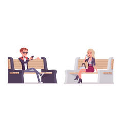 Young man and woman sitting on bench vector