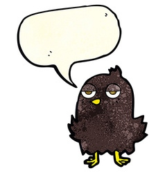 cartoon bored bird with thought bubble vector image