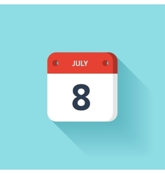 July 8 isometric calendar icon with shadow vector
