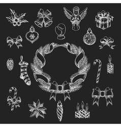 Chalkboard Christmas Design Element Set vector image vector image