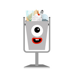 garbage can with different types trash vector image