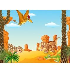 Happy group dinosaur character vector image