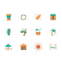 hawaiian vacations flat color icons set vector image