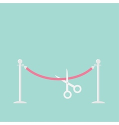 Scissors cutting pink rope silver barrier vector image
