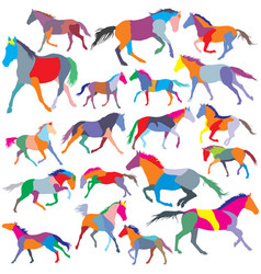 set of colorful trotting and galloping horses vector image vector image