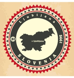 Vintage label-sticker cards of slovenia vector