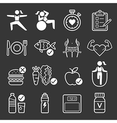 Diet and exercise icons vector image